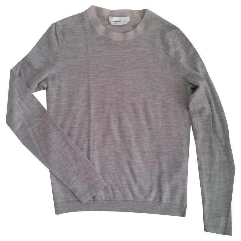 light grey Hugo Boss Superfine Merino Wool Crew Neck Sweater