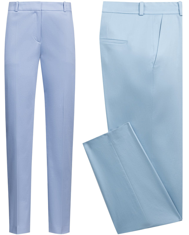 Hugo Boss 'Herila' blue tapered-leg cropped trousers in stretch cotton