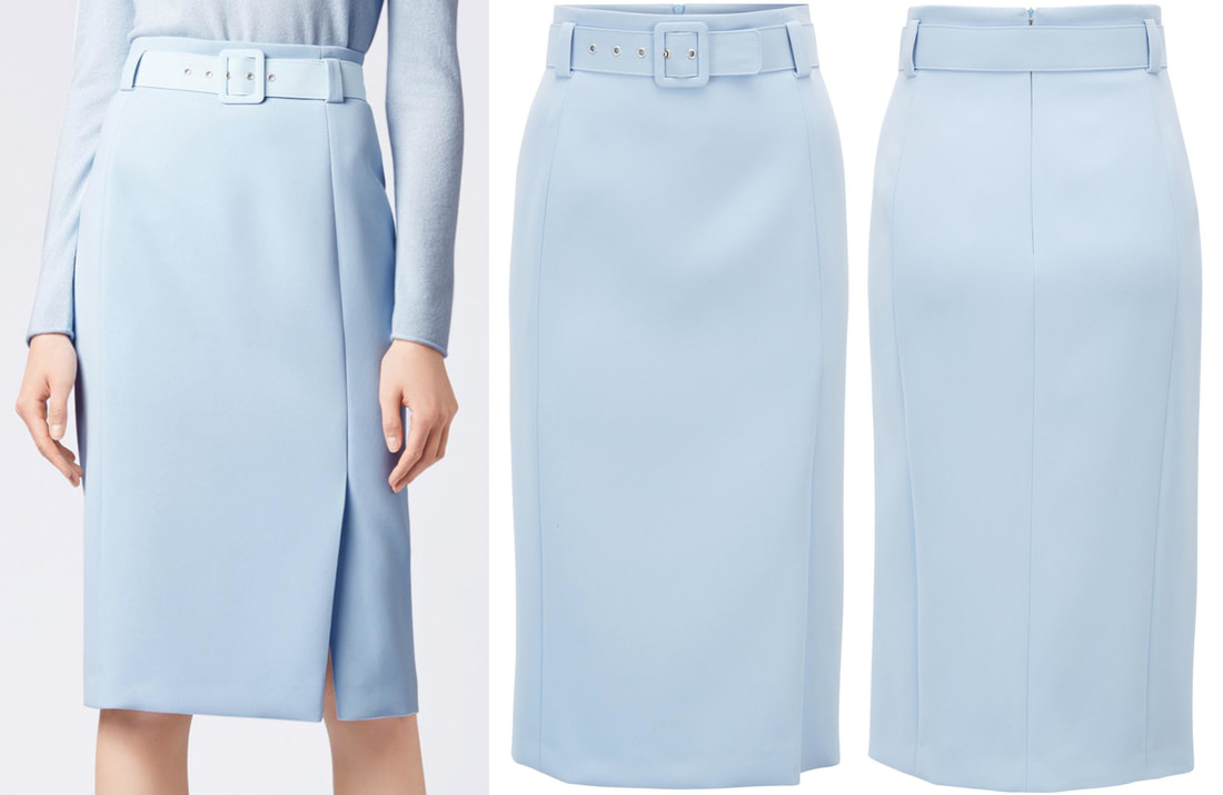 Hugo Boss light blue high-waisted belted pencil skirt