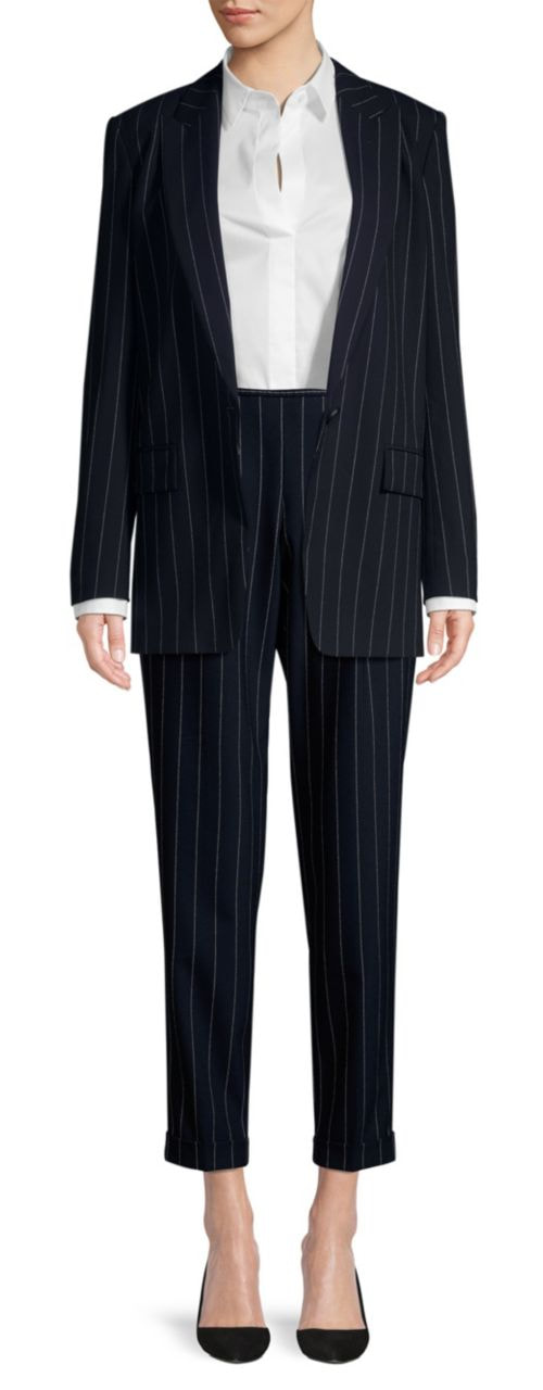 Hugo Boss pinstripe pant suit with Kocani blazer and Ariysa trousers