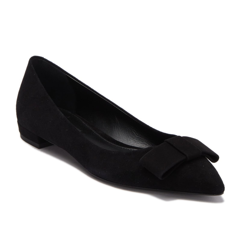Hugo Boss Royal black suede pointed toe bow ballerinas