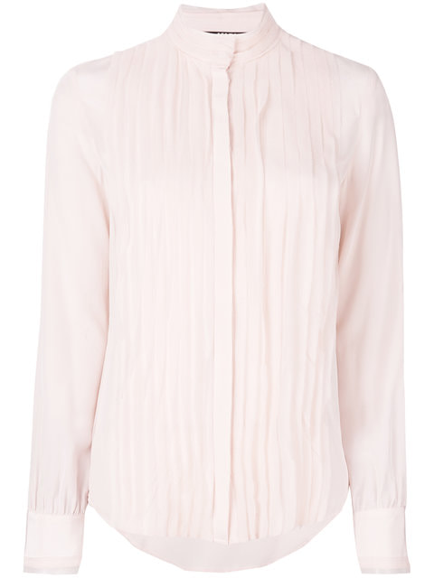 Karl Lagerfeld pink pleated silk shirt
