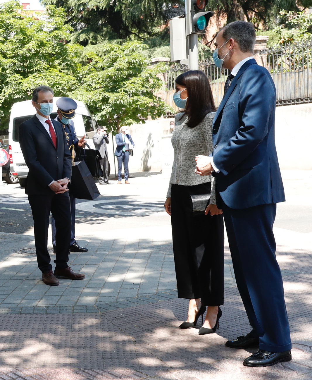 King Felipe VI and Queen Letizia of Spain arrive at the Elcano Royal Institute in Madrid on 25 May 2020