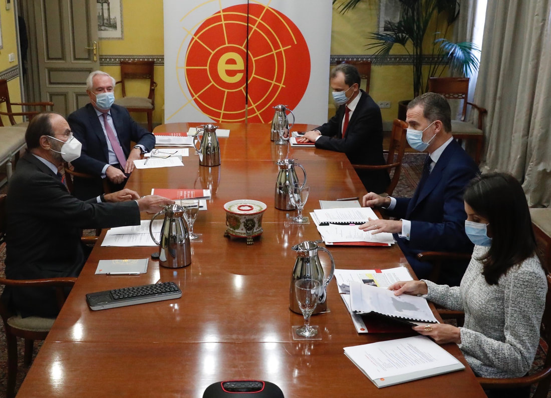 King Felipe Vi and Queen Letizia attend a session of the Scientific Council of the Elcano Royal Institute