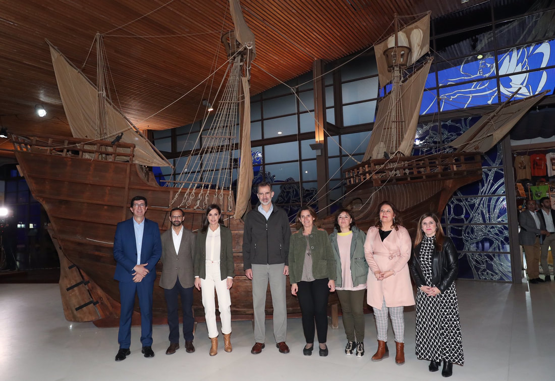 King Felipe VI and Queen Letizia at Visitor Center Fábrica de Hielo where they saw a replica of the Victoria ship