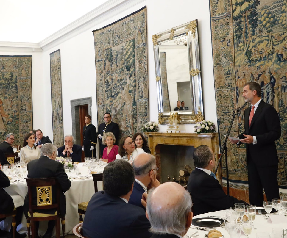 King Felipe & Queen Letizia host lunch for the Board of Trustees of the Cervantes Institute 2019