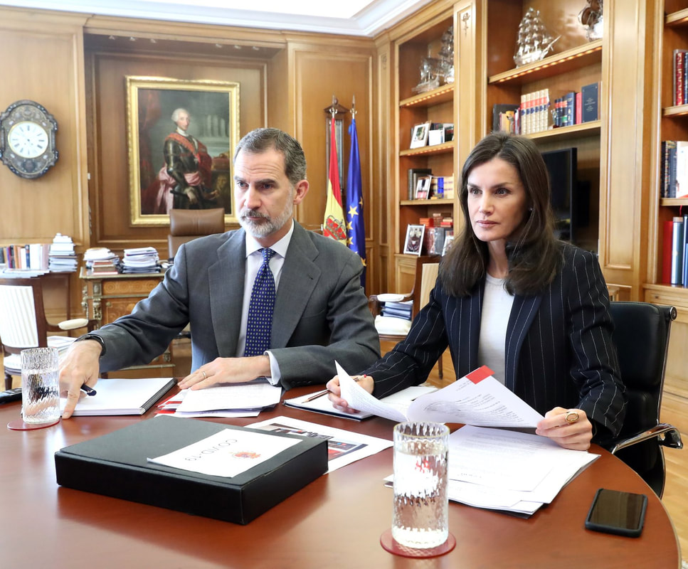 The King and Queen of Spain held video conferences on Friday 27 March 2020 at La Zarzuela Palace, Madrid. ​