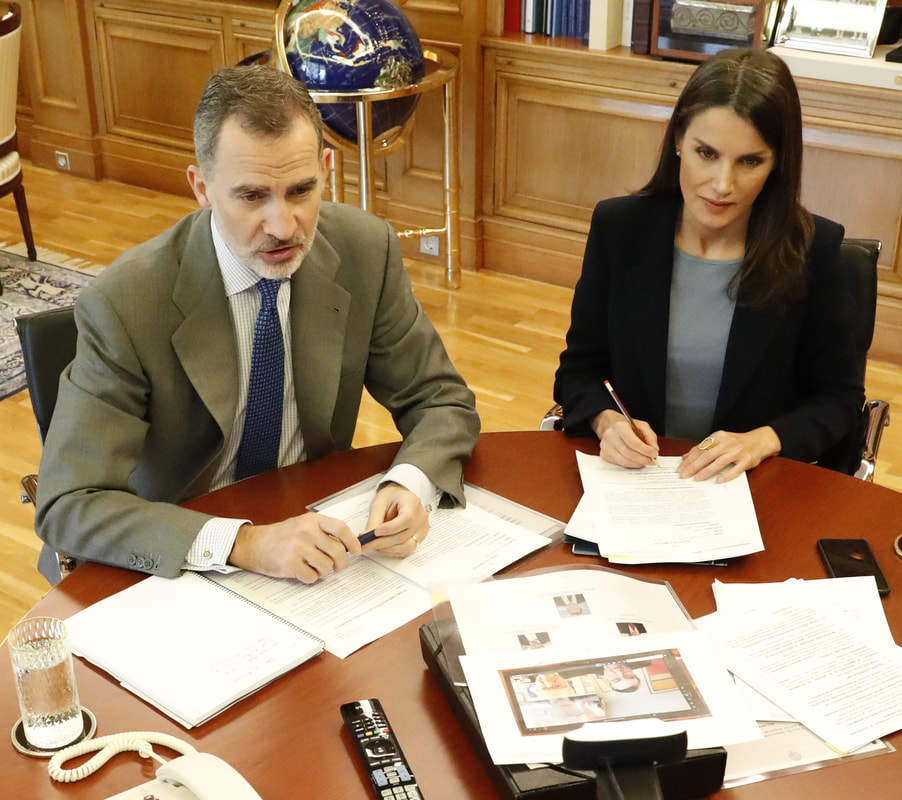 The King and Queen of Spain continued video conferences from their home at the Palace of Zarzuela on 7 April 2020