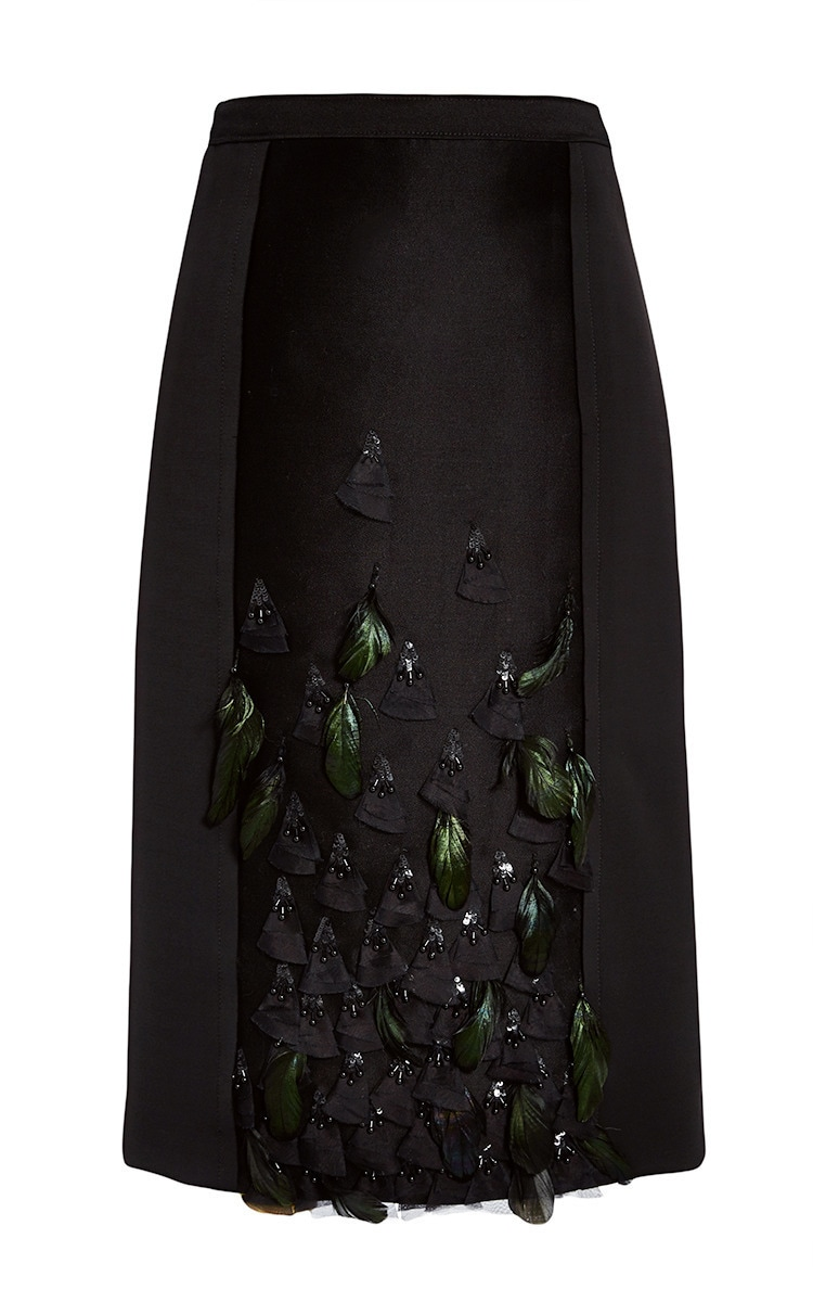Carolina Herrera Pre-Fall 2015 Feather Embroidered Pencil Skirt