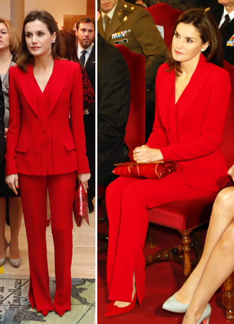 Queen Letizia wears Roberto Torretta red suit