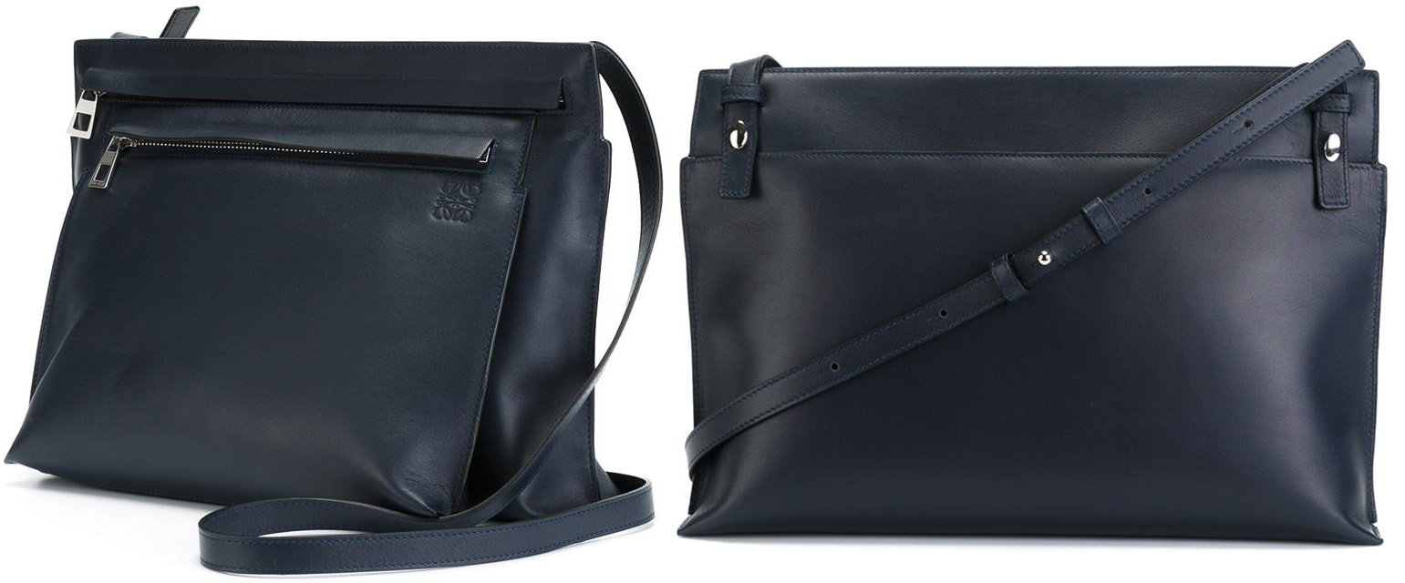 Loewe navy leather large double pouch