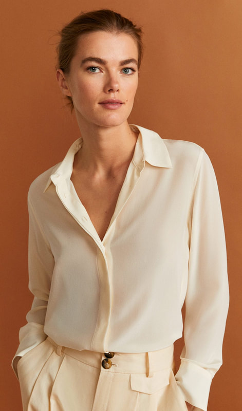 Mango 'SUIZA' cream silk shirt as sen on Queen Letizia