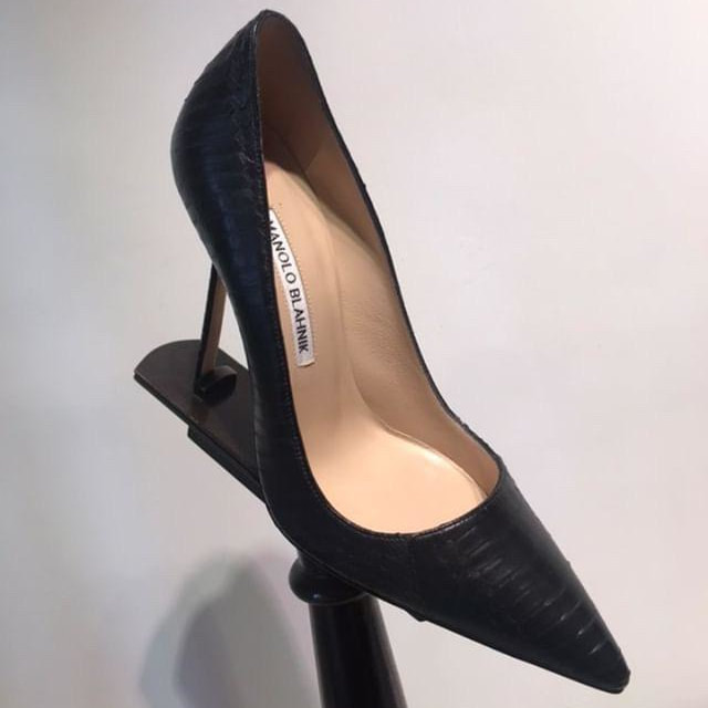 Manolo Blahnik black snakeskin pumps