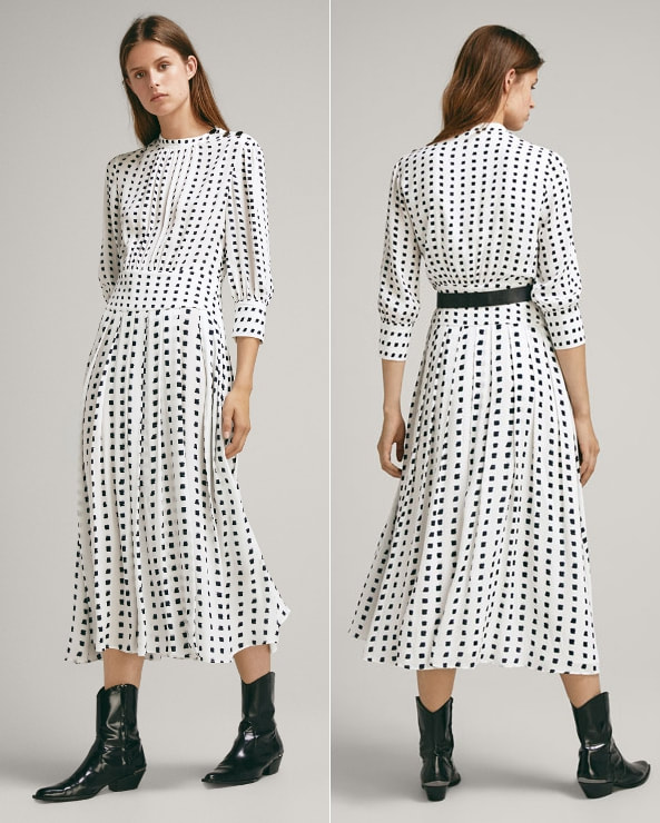 Massimo Dutti Pleated Dress with Two-Tone Print