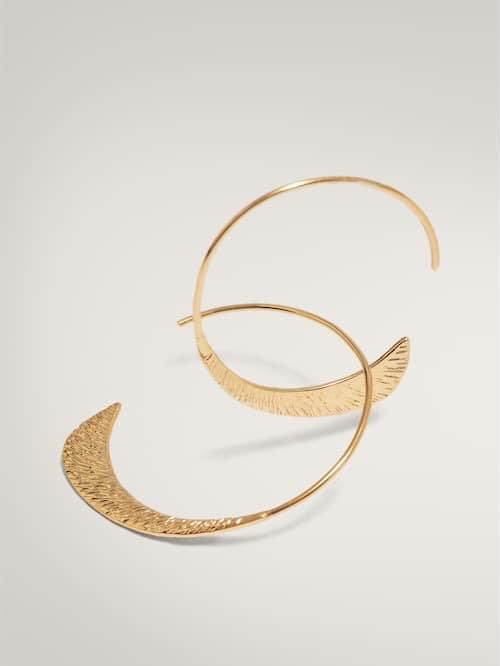 Massimo Dutti Textured half-moon gold-plated earrings
