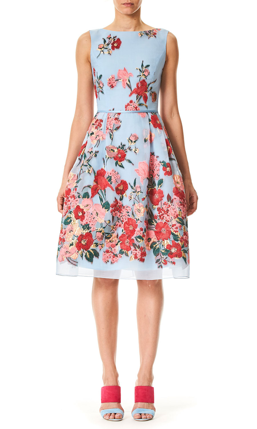 Carolina Herrera sleeveless blue floral dress from Resort 2018 collection