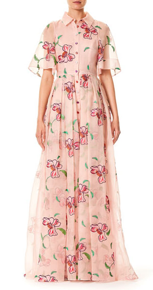 Carolina Herrera Floral Embroidered Organza Gown