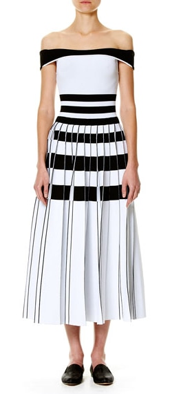 Carolina Herrera White/Black Striped Off-the-Shoulder Midi Dress