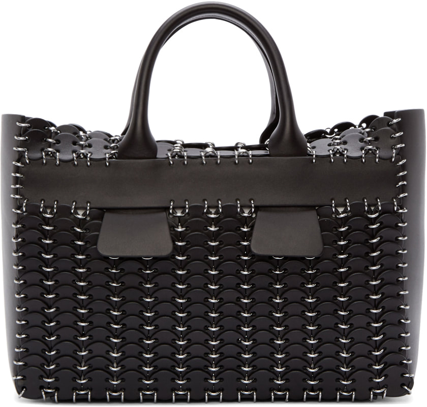 Paco Rabanne Chain-Mail 14#01 Cabas black small tote