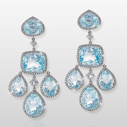 Yanes blue topaz chandelier earrings