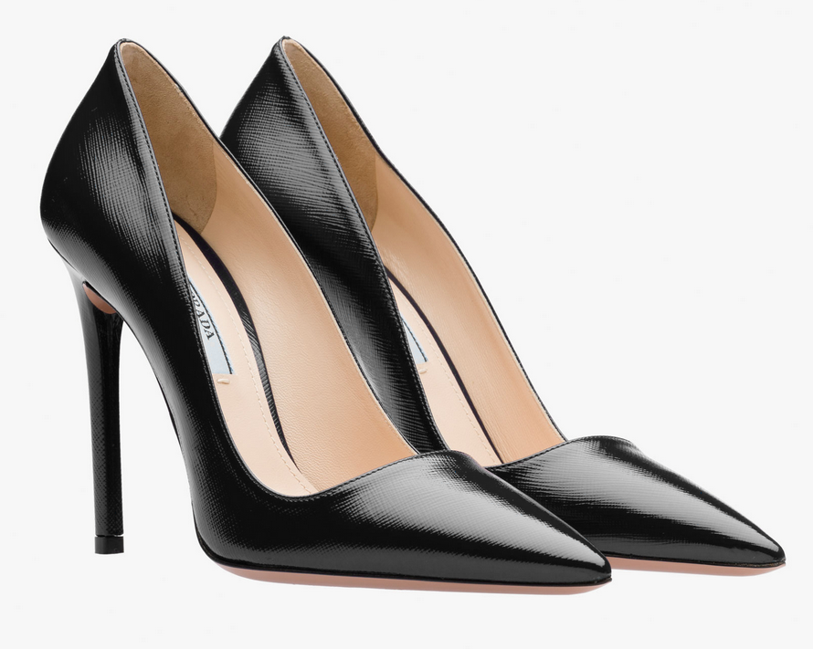 Prada Saffiano print patent leather pointy toe pumps