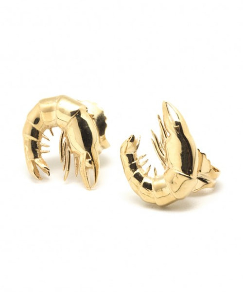 Helena Nicolau gold prawn stud earrings