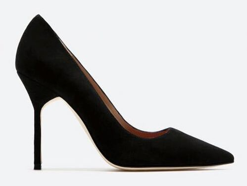 black Carolina Herrera suede pointed toe pumps