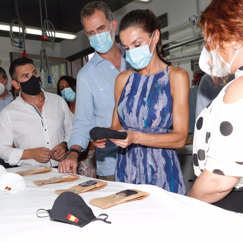 King Felipe VI and Queen Letizia visit sewing workshop Don Bosco Foundation on 29 June 2020