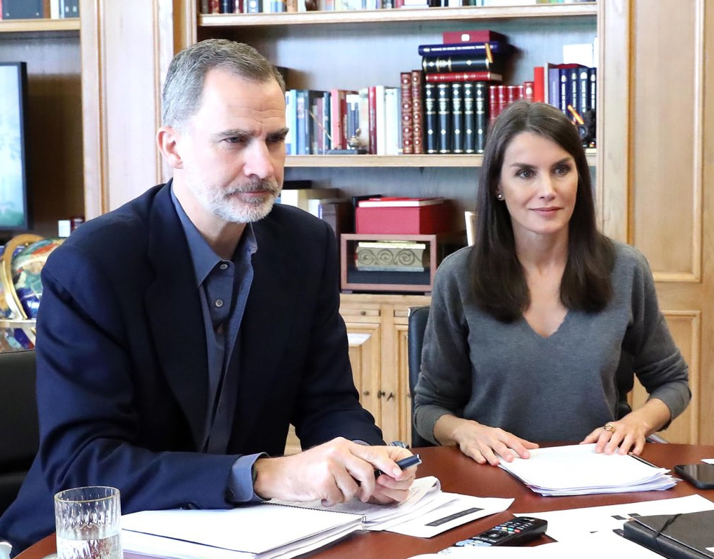 The King and Queen of Spain continued video conferences at the Palace of Zarzuela on 20 May 2020