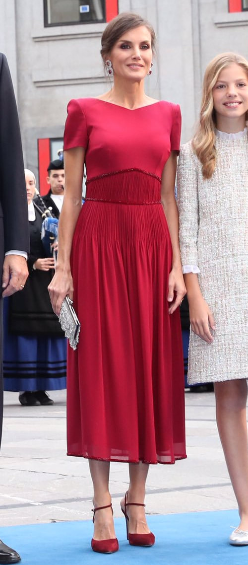Queen Letizia wears burgundy red Felipe Varela chiffon midi dress for 2019 Princess of Asturias Awards.