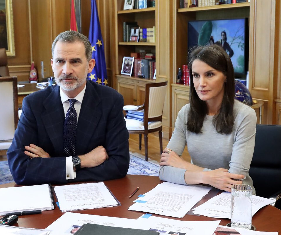 The King and Queen of Spain continued video conferences at the Palace of Zarzuela on 22 May 2020