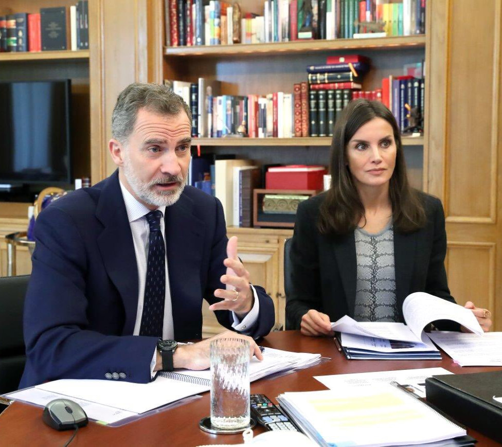 The King and Queen of Spain continued video conferences at the Palace of Zarzuela on 4 May 2020