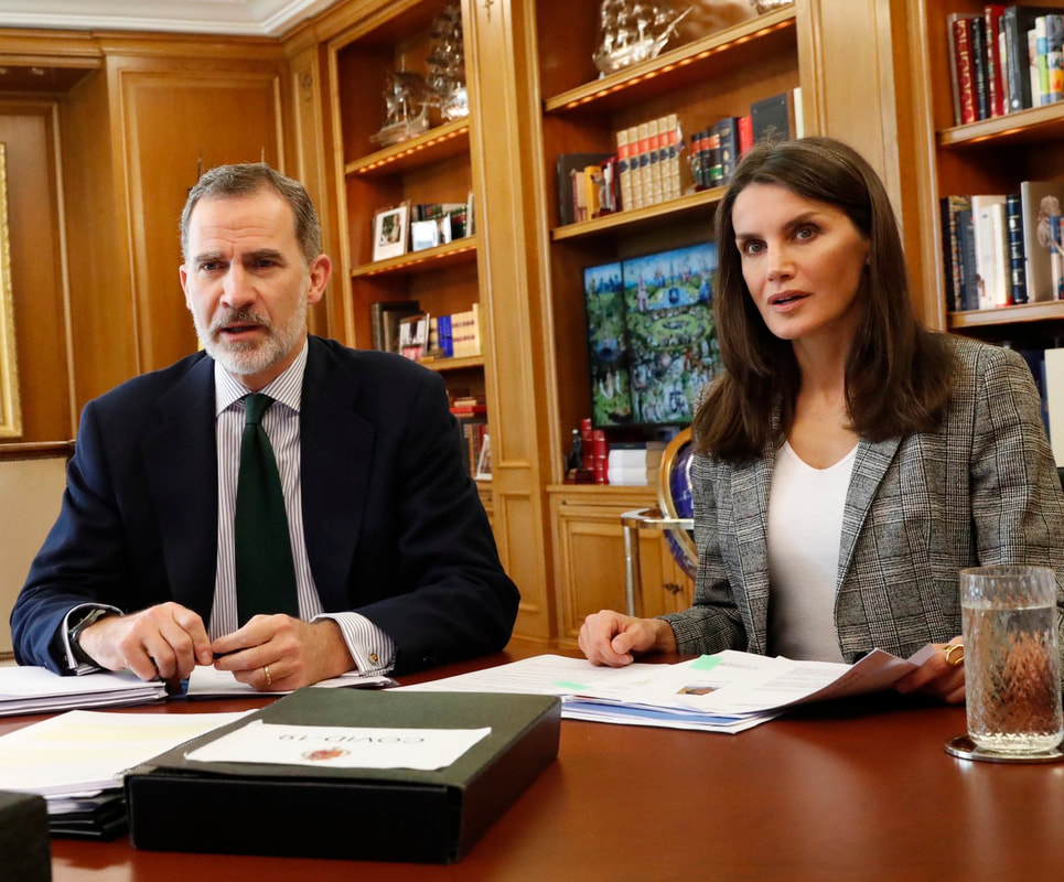 The King and Queen of Spain continued video conferences today from their home at the Palace of Zarzuela on 5 May 2020