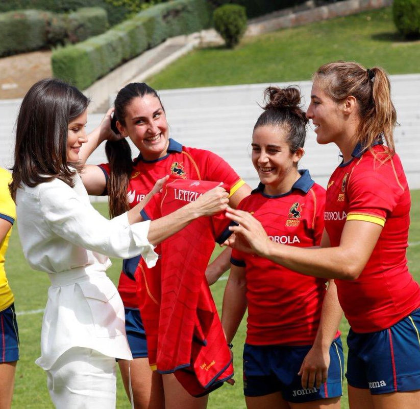 Queen Letizia of Spain attends National Women's Rugby Team 7 training July 2019
