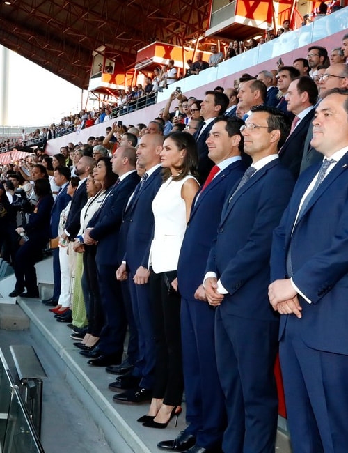 Queen Letizia attended the Copa de Su Majestad la Reina (Queen's Cup) final between Atletico Madrid Women and Real Sociedad Women at Estadio Nuevo Los Carmenes stadium in Granada