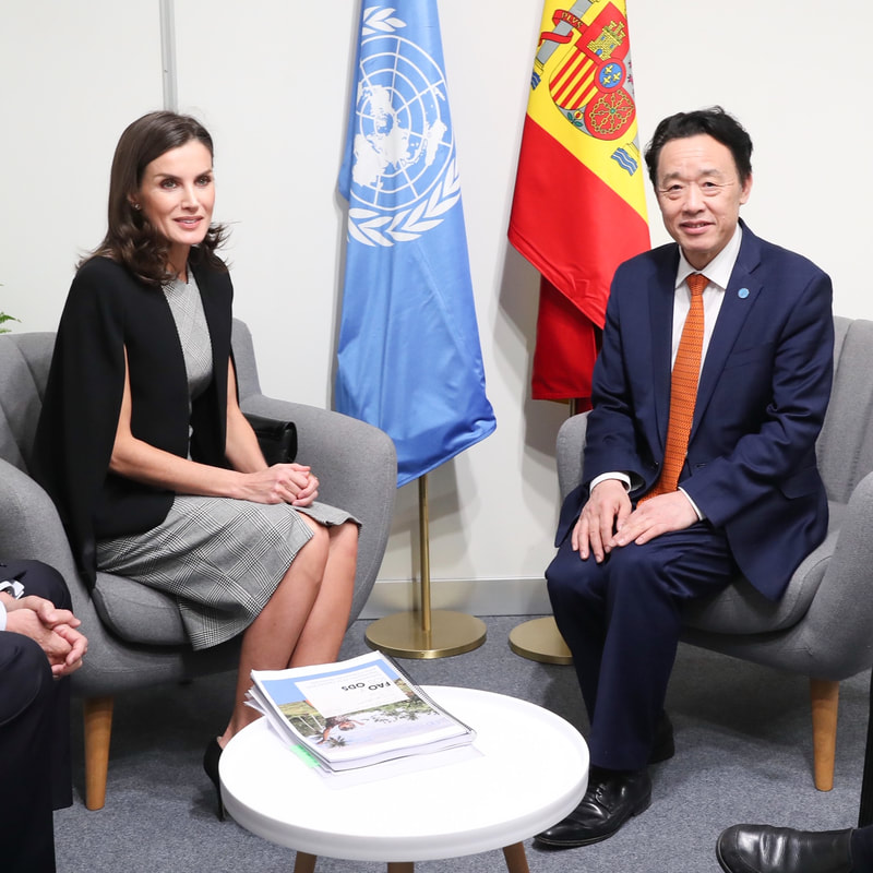 Queen Letizia meets Qu Dongyu the director-general of Food and Agriculture Organization of the United Nations