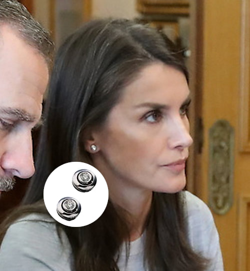 Queen Letizia wears bezel set diamond stud earrings