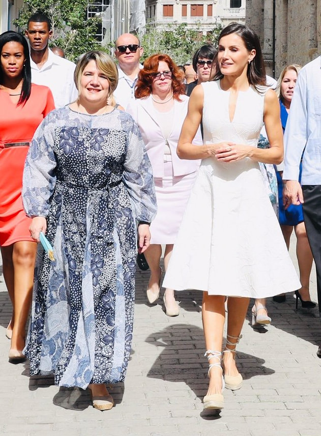 Queen Letizia travelled to Plaza Vieja where she was accompanied by First Lady of Cuba Lis Cuesta.
