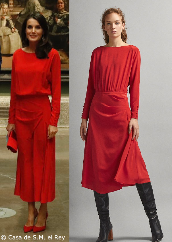 Massimo Dutti red long sleeve satin midi dress