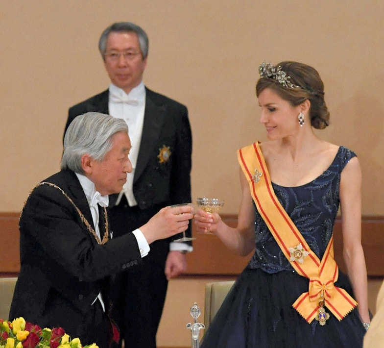 Queen Letizia wears Japanese Order of the Precious Crown which she was awarded during the Japanese state visit in 2017 by Emperor Akihito.