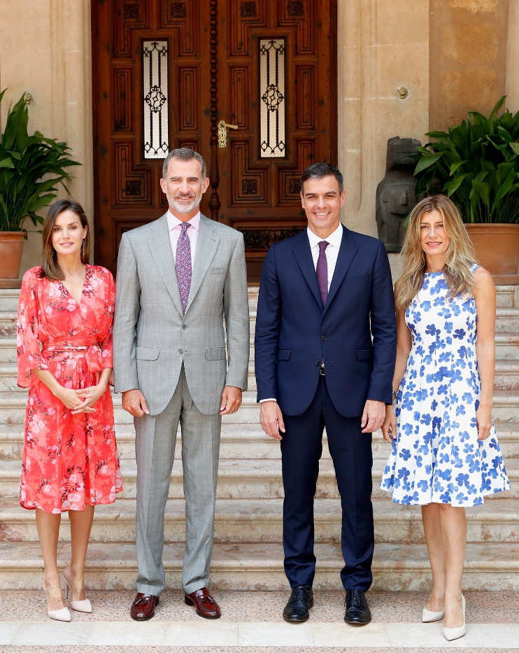 King Felipe and Queen Letizia welcome Spain's Prime Minister Pedro Sánchez Pérez-Castejón and his wife to their summer residence in Palma de Mallorca at Marivent Palace