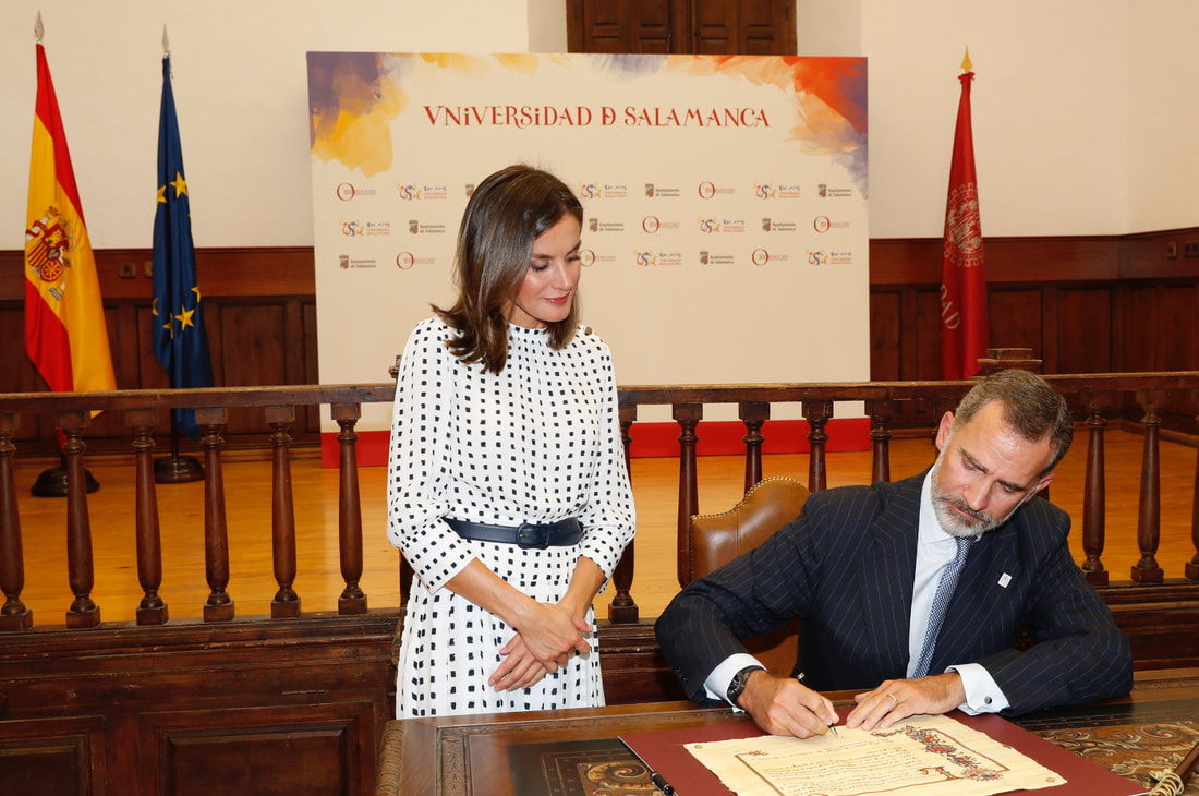King Felipe and Queen Letizia of Spain visit the University of Salamanca today to mark the 30th anniversary of the Magna Charta Universitatum