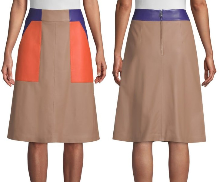 BOSS 'Seplea' Colorblock Leather A-Line Skirt as seen on Queen Letizia