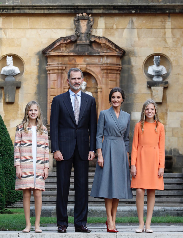 Spanish royal family attend official welcome reception at the Plaza Alfonso II el Casto Oviedo for Princess of Asturias Awards 2019