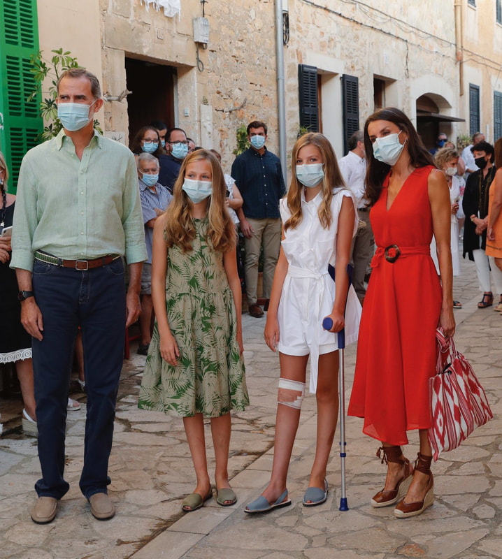 Spanish royal family visit Petra Mallorca on 10 August 2020