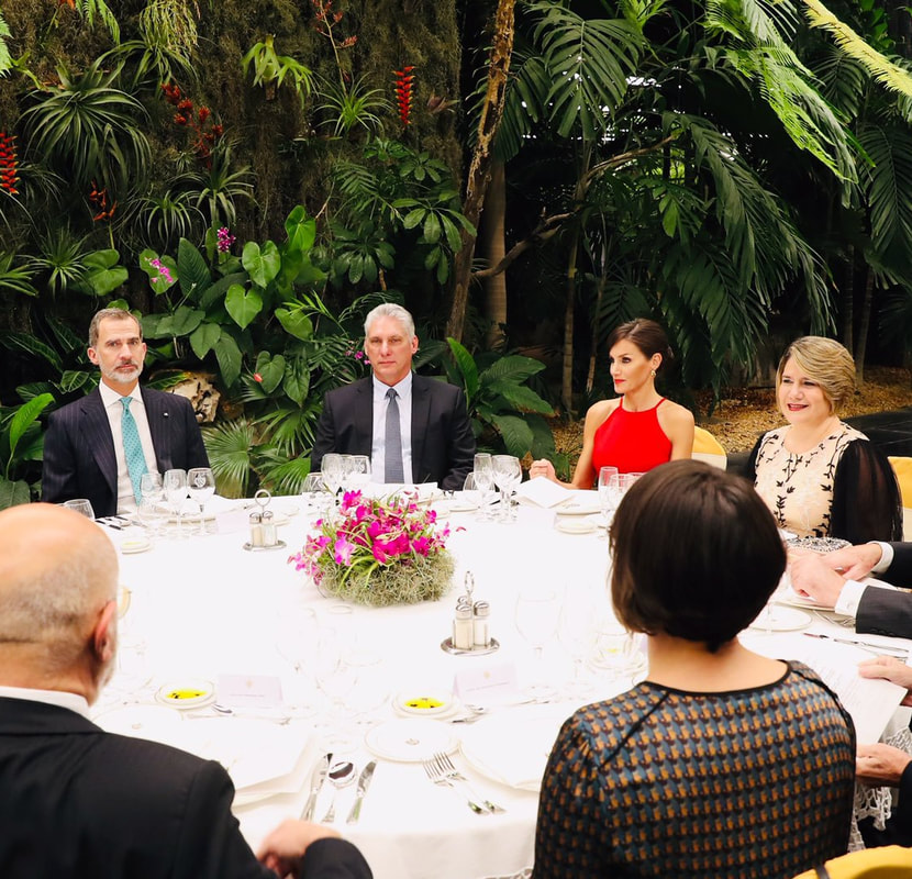 State Visit to Cuba - King and Queen of Spain attend official welcome dinner at the Palacio de la Revolucion hosted by the President of Cuba and First Lady