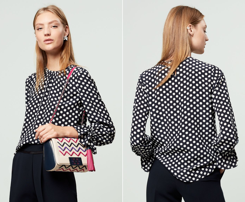 CH Carolina Herrera navy/ecru polka dot silk blouse from F/W 2017 Collection