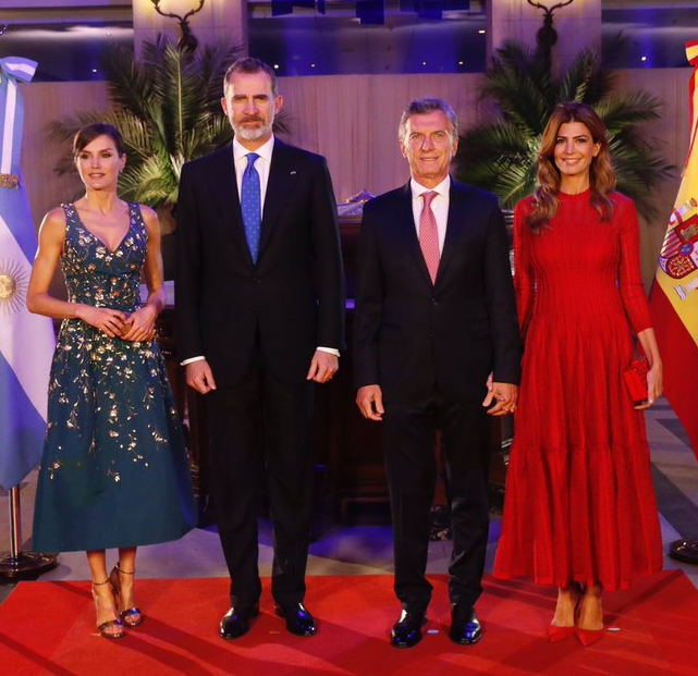 Queen Letizia In Elegant Carolina Herrera Embroidered Cocktail Dress For Argentinian Gala Dinner Queen Letizia Style
