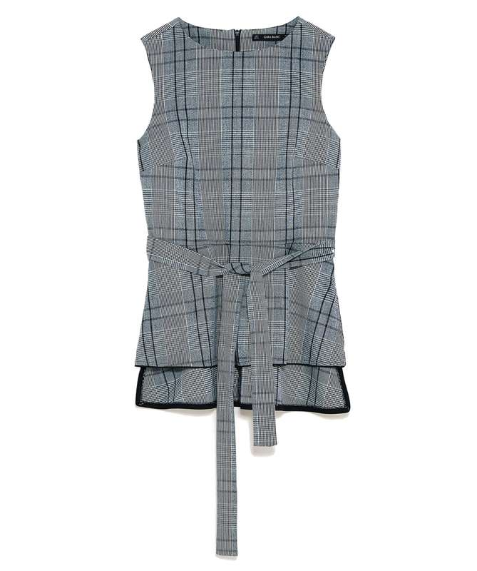 ZARA GRAY PLAID TOP WITH BELT