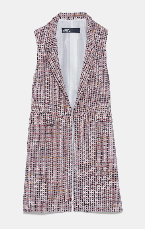 Zara textured waistcoat with inverted lapel collar